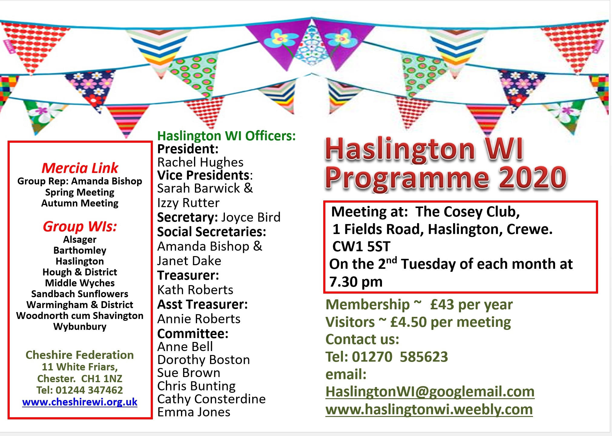 A poster providing details of Haslington WI officers, membership and meetings. Contact number: 01270 585623 or email HaslingtonWI@googlemail.com.