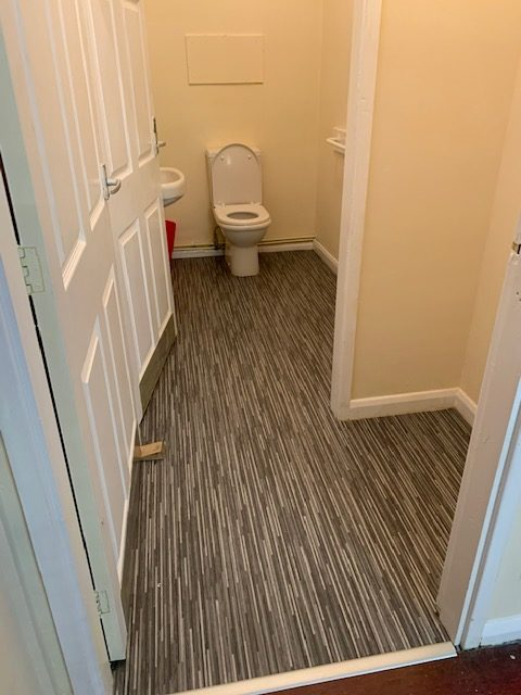 New floor covering in toilets second view