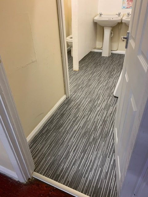 New floor covering in toilets first view